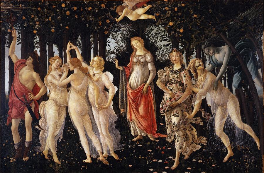 La Primavera di Botticelli, opera del rinascimento italiano con i suoi personaggi misteriosi