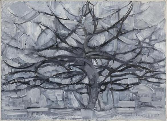 albero argentato di Mondrian, serie di alberi per arrivare all'astrazione