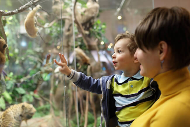 mamma e figlio al museo