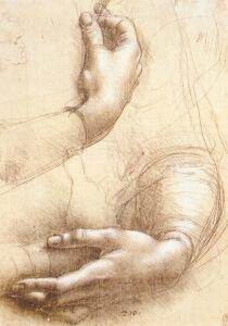 Leonardo da Vinci, Studio di mani.