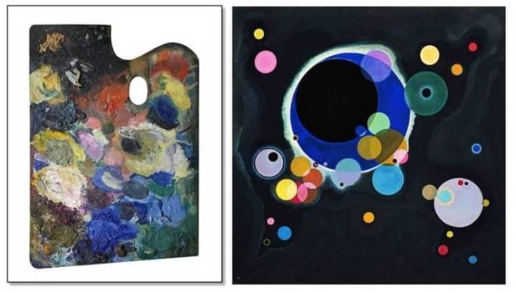 La tavolozza di Kandinsky e una sua opera, Alcuni cerchi, del 1926