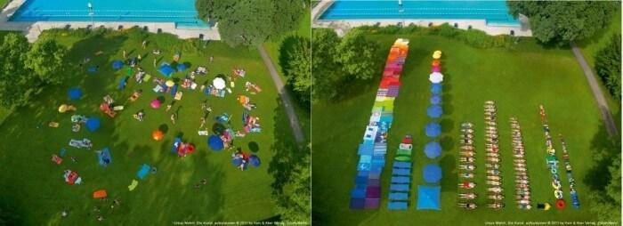 La piscina riordinata da Ursus Wehrli.