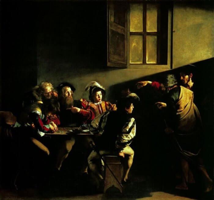 Caravaggio, La Vocazione di S. Matteo, olio su tela, 1599-1600, Roma, S. Luigi dei Francesi