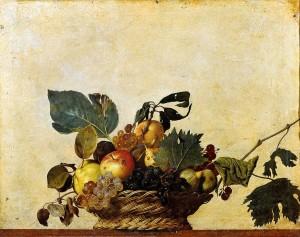 Caravaggio, Canestro di frutta, olio su tela, 1596