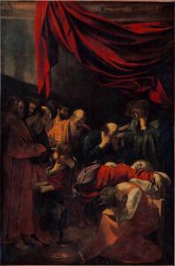 Caravaggio, La morte della Vergine, olio su tela, 1505-1506