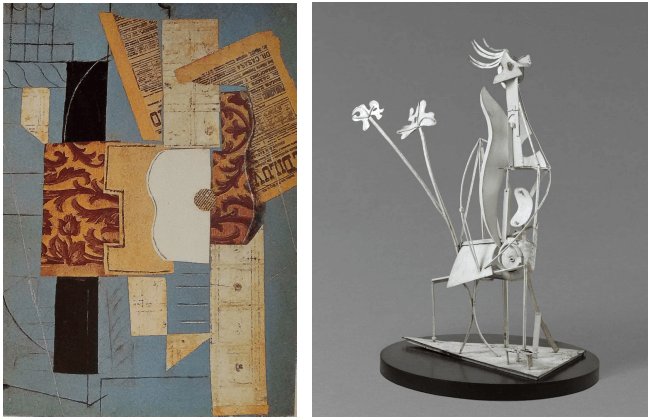 papier collè e opere in ferro di Picasso sculture