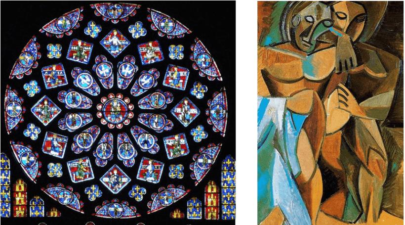A sinistra: Cattedrale di Chartres, Rosone Nord; a destra: P. Picasso, L'amicizia, 1908. Il rosone di Chartres è un elsempio lampante di opera simmetrica, nel caso di Picasso, invece, la composizione è asimmetrica. All'artist interessava comunicare uno stato d'animo oltre che studiare forme nuove e non tradizionali.