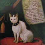 i gatti nell'arte gatto con sonetto
